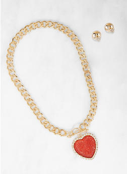 Heart Curb Chain Necklace with Reversible Stud Earrings - 1138072692218