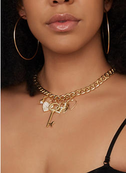 Curb Chain Heart Charm Necklace with Bracelet and Earrings - 1138072692224