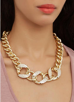 Curb Chain Necklace and Earrings Set - 1138072692227