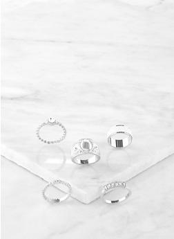 Set of 5 Glitter Rings - 1138072694231