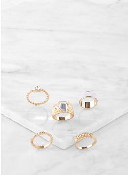 Set of 5 Glitter Rings - 1138072694231