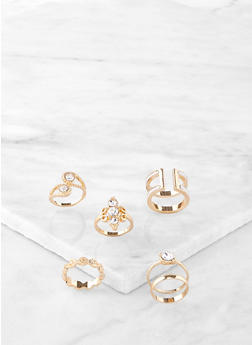 Set of 6 Jeweled Rings - 1138072694251
