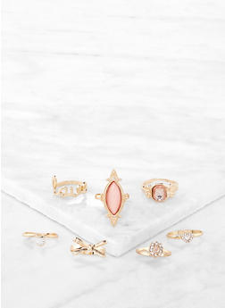 Set of 7 Bejeweled Rings - 1138072694254