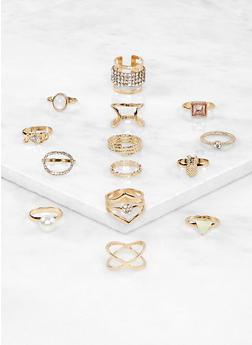 Set of 14 Metallic Rings - 1138072694309