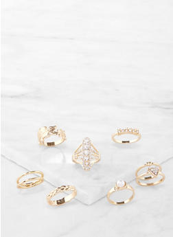 Set of 8 Rhinestone Metallic Rings - 1138072694319