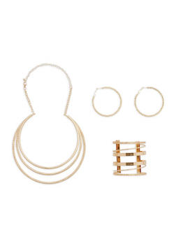 Layered Collar Necklace with Cuff Bracelet and Hoop Earrings - 1138072695349