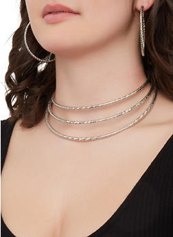 Metallic Collar Necklace with Cuff Bracelet and Hoop Earrings - 1138072695394