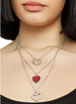 Layered Heart Necklace with Hoop Earrings - 1138072695570