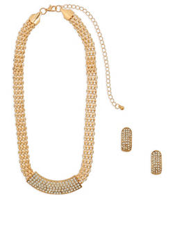 Rhinestone Metallic Mesh Necklace and Earrings - 1138072695750
