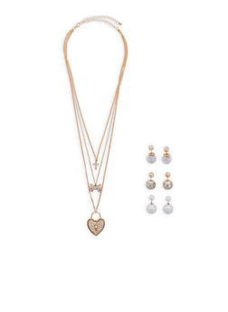 Layered Charm Necklace with 3 Reversible Stud Earrings - 1138072696066