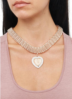 Heart Charm Collar Necklace With Bracelet and Earrings - 1138072696722
