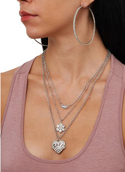 Love Charm Layered Necklace and Hoop Earring Trio - 1138072696982