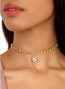 Rhinestone Bar Choker and Reversible Stud Earring Trio - 1138072697092