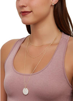 Layered Circle Charm Necklace with Stud Earrings - 1138072697123