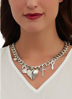 Puffed Heart Curb Chain Necklace with Bracelet and Earrings - 1138072697126
