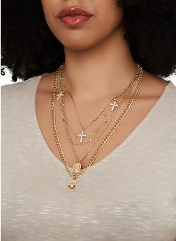 Religious Charm Layered Necklace with Stud Earrings - 1138072697135