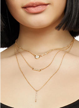 Layered Mini Charm Necklace and Stud Earrings Set - 1138072697138