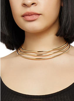 Wire Collar Necklace with Cuff Bracelet and Hoop Earrings - 1138072697232