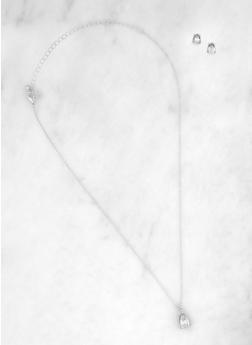 Rhinestone Pendant Necklace and Stud Earrings Set - 1138072697445