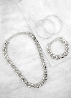 Chain Curb Necklace and Bracelet with Hoop Earrings - 1138072698847