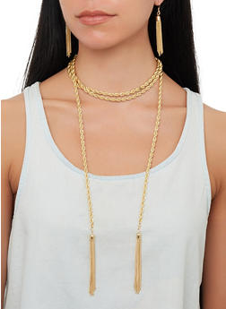 Wrap Around Metallic Tassel Necklace with Earrings - 1138072699054