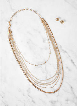 Layered Flat Chain Necklace and Stud Earrings - 1138072699917