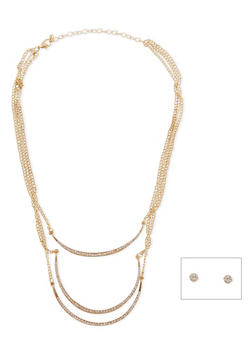 3 Layer Rhinestone Curved Bar Necklace with Earrings - 1138073288352
