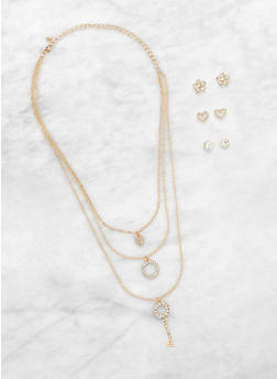 Layered Key Charm Necklace with Stud Earring Trio - 1138073840200