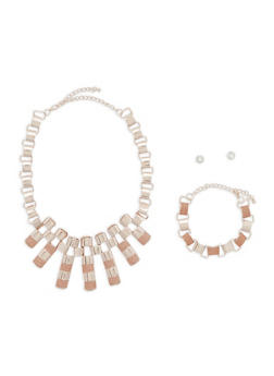 Glitter Chain Necklace with Bracelet and Stud Earrings - 1138073845953