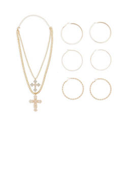 Set of 3 Rhinestone Hoop Earrings and Layered Cross Necklace - 1138073846018