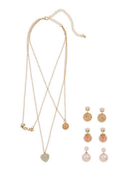Layered Necklace with Reversible Stud Earrings - 1138073846044