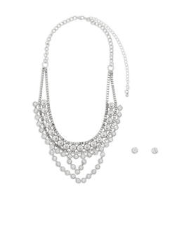 Rhinestone Collar Necklace and Stud Earrings Set - 1138073846072