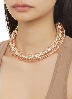 Coiled Collar Necklace with Hoop Earrings - 1138073846901