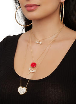 Layered Necklace with Hoop Earring Trio - 1138073846971