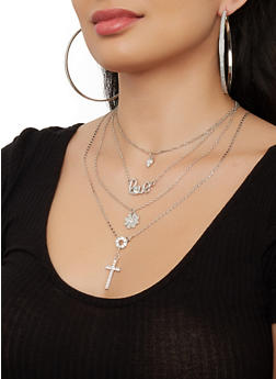 Layered Flower Cross Charm Necklace with Hoop Earring Trio - 1138073846972