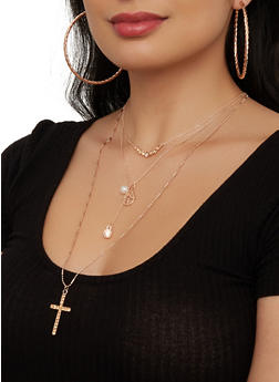 Layered Cross Necklace with Hoop Earring Trio - 1138073846973