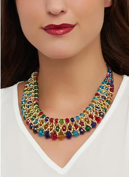 Beaded Woven Necklace with Earrings - 1138073847128