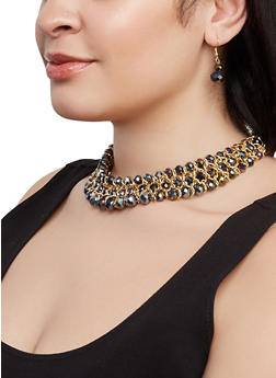 Three Row Beaded Collar Necklace and Drop Earrings Set - 1138073847182