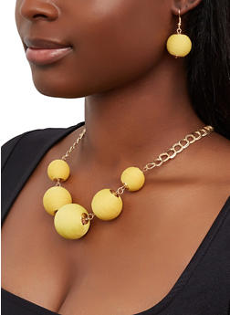 Thread Wrapped Bead Necklace and Matching Earrings - 1138073848187