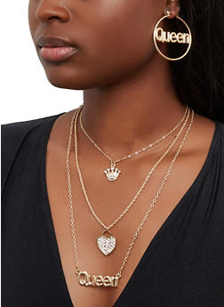Queen Tiered Chain Necklace and Hoop Earrings Set - 1138073848190