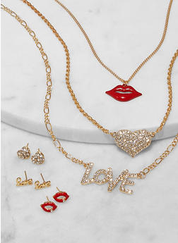 Layered Lip Charm Necklace with Stud Earring Trio - 1138073848320