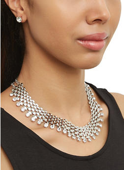 Rhinestone Collar Necklace with Stud Earrings - 1138073848331