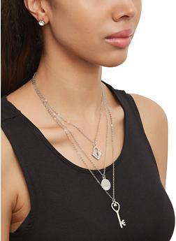 Layered Key Charm Necklace with Stud Earrings - 1138073848388