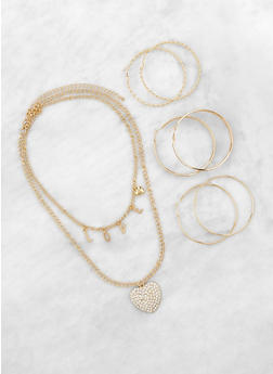 Love Layered Necklace with Hoop Earring Trio - 1138073849106