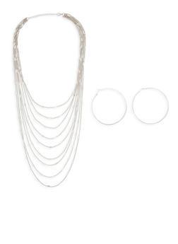 Layered Metallic Necklace and Hoop Earrings - 1138074140954