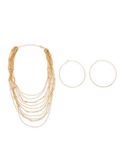 Metallic Beaded Layered Necklace and Hoop Earrings - 1138074140955