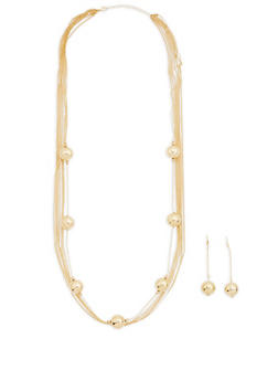 Metallic Ball Layered Necklace and Stick Earrings - 1138074140975
