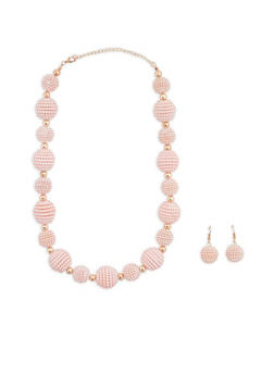 Faux Pearl Beaded Necklace and Earrings - 1138074141032