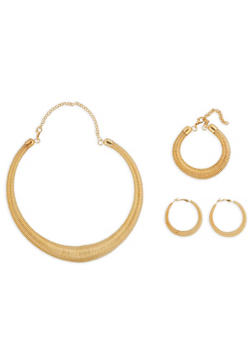Coiled Necklace with Matching Bracelet and Hoop Earrings - 1138074141069