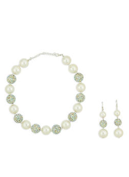 Faux Pearl and Rhinestone Necklace with Drop Earrings - 1138074141072